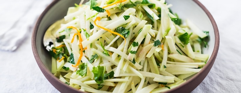 Bowl of kohlrabi slaw