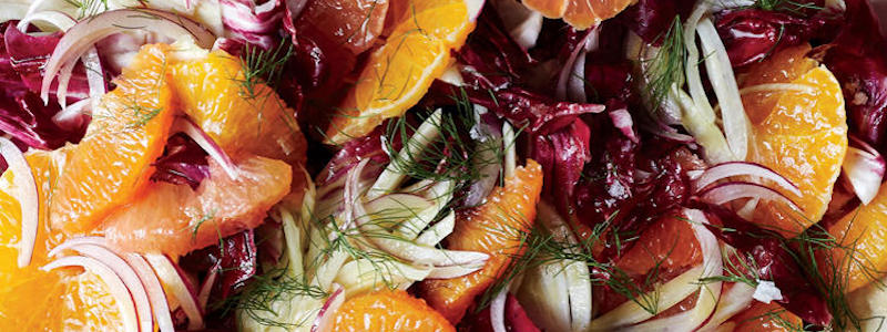 Close up of fennel radicchio salad